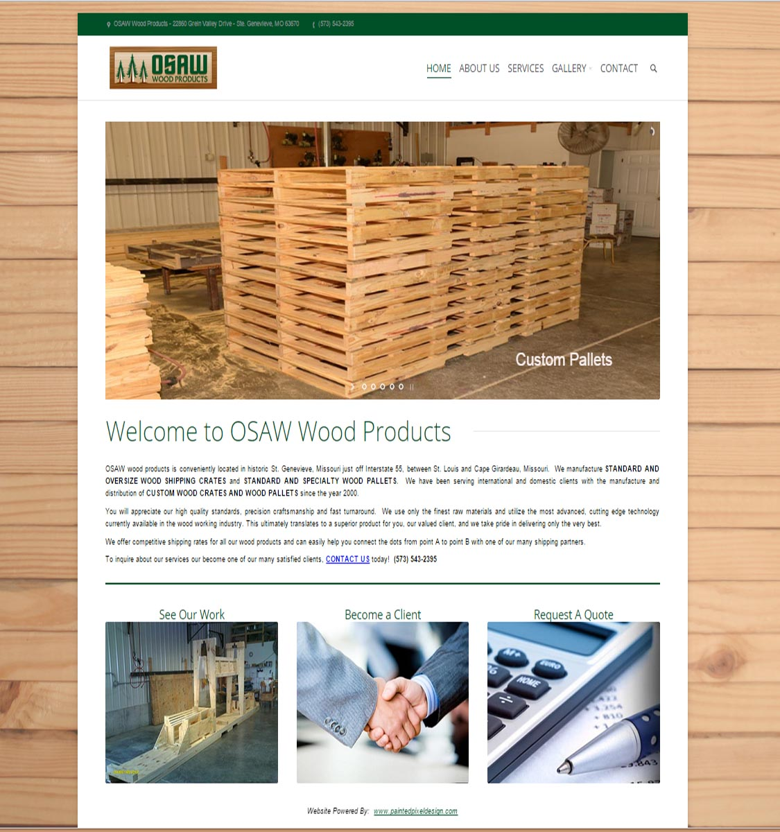 Painted Pixel Web Design - OSAW Wood Products Website